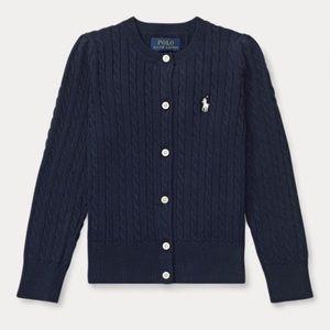 NWOT Ralph Lauren cable knit cardigan navy 5t